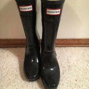 Hunter wedge navy rain boots